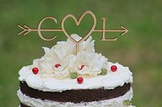 Buythrow Rustic Wedding Cake Topper-wood Cake Topper Initial Cake Topper with Heart in Any Letter a B C D E F G H I J K L M N O P Q R S T U V W X Y Z