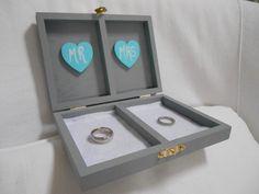 Custom Wedding Ring Box. Tiffany Blue and Gray Wedding Box. Ring Bearer Alternative