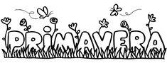 Dibujo de la palabra primavera. Imágenes para colorear