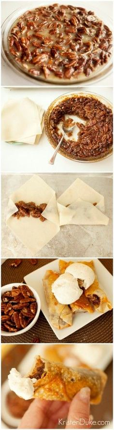 Pecan Pie Egg Rolls Recipe ~ a fun twist on 2 traditional recipes... yummy!.