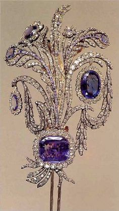 Sapphire, diamond, silver, and gold hair ornament; Russian; c. 1800
