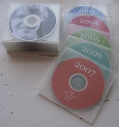 Back up digital photos on to discs by year.  List what is included on the disc.  Can do separate discs for special occasions.