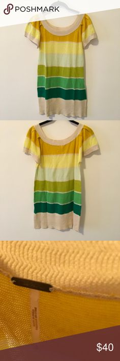 FREE PEOPLE Retro Striped Sunshine Blouse Free People retro like Knit shirt with a striped print all over and goes from yellow to green- Linen and cotton blend and is a size small. In excellent condition! Free People Tops Blouses