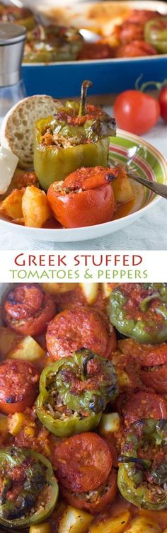 Get healthy this year with the help of these Greek stuffed tomatoes and peppers - this Greek 'peasant' meal is still popular for a reason!