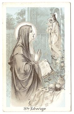 St. Hedwig Antique Vintage French Holy Prayer Card Devotional