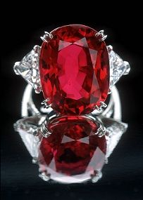 The 23.1 carat Carmen Lucia ruby. Set in a platinum ring with diamonds. Part of the Smithsonian collection in Washington.