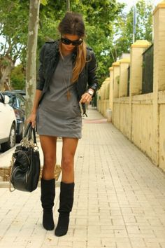 Long Boots,Handbag and Leather Jacket