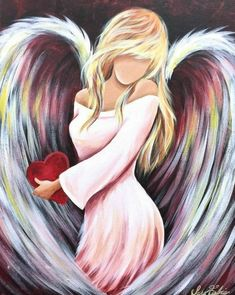 Angel holding red Heart in pink dress. Soft rainbow colors in her wings Angel Artwork, Angel Paintings, Angel Drawing, Ange Demon, Prophetic Art, Angel Pictures, Angels Among Us, Counted Cross Stitch Patterns, Wedding Humor