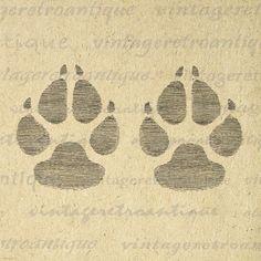 Vintage Dog Art   Dog Paw Prints Digital Image Graphic Illustration Printable…