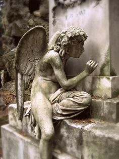 origine inconnue Cemetery Angels, Cemetery Statues, Cemetery Art, Angels Among Us, Angels And Demons, Statue Ange, Old Cemeteries, Graveyards, I Believe In Angels