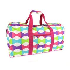 """Bow Tie Fuchsia Multi Duffle Bag Size: 22"""" W x 11.25"""" H x 9.75"""" Deep Color: Fuchsia, Multi Style: Duffle with multiple zipper pockets. Should strap included. Bow Tie print on Polyester material. Bags Travel Bags"""