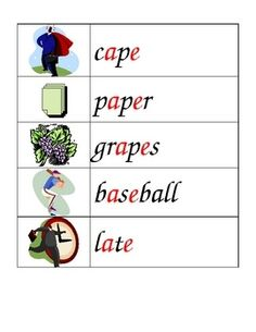 Weekly Freebie: FREE Word Wall Resource fromMs.Joanneon TpT    Phonics: Long A illustrated Word Wall