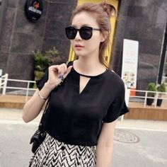 2014 mulheres blusa verão moda sólido oco triângulo projeto manga curta chiffon blusa 2 color roupas femininas 24170