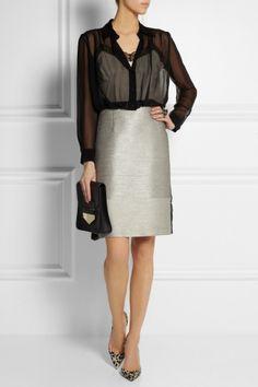 ALBERTA FERRETTI Silk-chiffon and tweed dress