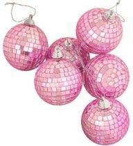 Pink disco ball Christmas ornaments