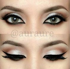add a wide cat eye with black liquid eyeliner on the upper lash line and a black liner on the lower line. eyeshadow- white/cream shadow below the crease and a dark brown above the crease. Pretty Makeup, Love Makeup, Makeup Inspo, Makeup Inspiration, Fancy Makeup, Makeup For Black Dress, Simple Makeup, Awesome Makeup, Prom Makeup Red Dress