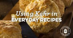 Kefir, because it contains acids and bacteria, much like yogurt and buttermilk, can be used in all sorts of baking recipes with delicious, tangy results. Healthy Eating Recipes, Healthy Baking, Gourmet Recipes, Real Food Recipes, Baking Recipes, Dairy Recipes, Flour Recipes, Healthy Tips, Healthy Foods