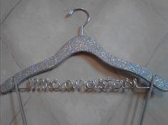 Sparkle Wedding Hanger, Personalized Hanger, Custom Hanger, Bride Hanger, Name Hanger, Bridal Gift, Bridesmaid Gift, Glitter Wood. $23.50, via Etsy.