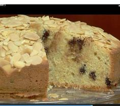 Lidia's Italy: Recipes: Almond Torta with Chocolate Chips Check Lidia Cooks from the Heart of Italy book Lidia's Recipes, Almond Recipes, Dessert Recipes, Family Recipes, Sweet Recipes, Baking Recipes, Italian Desserts, Just Desserts, Delicious Desserts