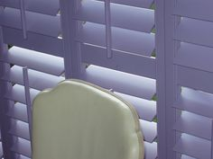 Wooden shutters in purple from Apollo Blinds. Ultra Violet. Pantone colour of the year 2018. Purple shutters. Purple colour inspiration for home decor.