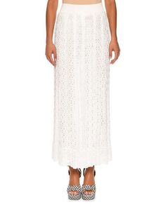 MISSONI ELASTIC-WAIST LACE-KNIT MAXI SKIRT, WHITE. #missoni #cloth #