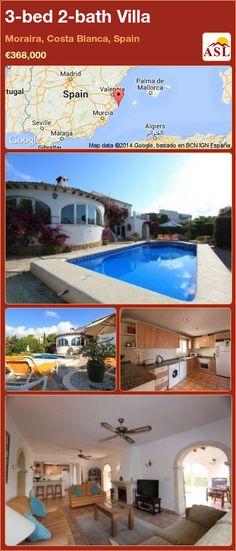 3-bed 2-bath Villa in Moraira, Costa Blanca, Spain ►€368,000 #PropertyForSaleInSpain