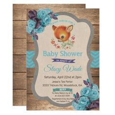 Vintage Deer Floral Baby Shower Invitation. Rustic wood background with blue chevron, floral design and baby deer #ad