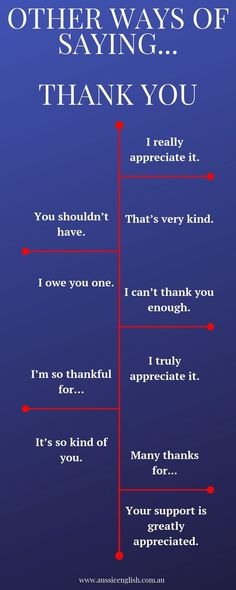 Other ways of saying thank you in English! Improve your vocabulary with Aussie English! English Grammar Worksheets, Learn English Grammar, English Vocabulary Words, Learn English Words, Grammar And Vocabulary, English Language Learning, Teaching English, Grammar Rules, English Tips