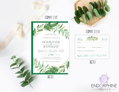 Invitation végétale Endorphine, version imprimable Place Cards, Invitation, Place Card Holders, Etsy, Printable, Invitations, Reception Card