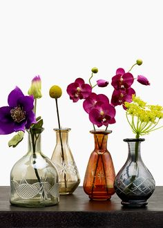 We love the classic elegance of these etched glass bottle vases. The shapes and colors work wonderfully together if you'd like to create a casual mix of flowers. Choosing different flowers adds to the effortless look, as an accent, or as part of a table centerpiece.