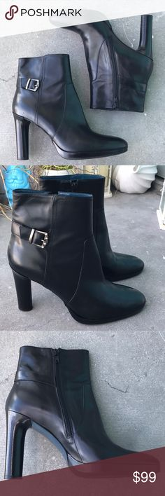 "Via Spiga Leather Boots Size 9.5New (no box) Via Spiga Leather Boots Size 8.5.  New without box.  Excellent Conditions .  Fine and soft leather. 4"" Heels .  Buckle with crystals. Via Spiga Shoes Ankle Boots & Booties"