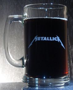 METALLICA Etched Glass Beer Mug Heavy Metal Band by LoveEtching