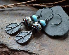 Hippie earrings Peace sign Lampwork Boho chic by JeSoulStudio