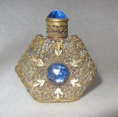"Vintage Czech Mini Jeweled Perfume Blue Stones 2 1 8"" Tall   eBay"