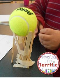STEM Tower Challenge:Can you use ALL the supplies to build a tower that holds a tennis ball aloft? Great problem solving and creative ways to use all the supplies!