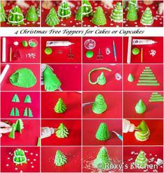 How to make Fondant Christmas Tree Toppers for cakes or cupcakes- 4 designs  | Roxy's Kitchen