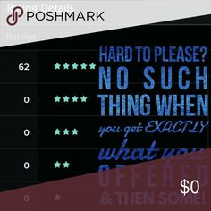 Do What You Love & Do It Well! 🌌😉💕🥂Poshmark already provides perfect customer & seller matches! I'm eclectic in both style & my closet. These are my real stats. Take a risk with me. Why? Because I have an eye for trends & try to please every customer & not a single 2017 customer disagrees!🥂💕😉🌌  I'm 100% committed to keeping that statement. When shopping here always ask about bundles & promos! I often have deals & BOGO to help you save more!  I offer fabulous sales history, latest…