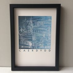 Professional quality art print of Cardiff, the capital city of Wales with the main landmarks of the city. Cardiff, Capital City, Wales, Living Room Decor, New Homes, Art Prints, Day, Frame, Drawing Room Decoration