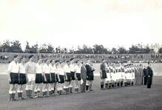 NEC Nijmegen 1 Bristol R 0 in Aug 1948 in Nijmegen. The players line up before kick off in the friendly.