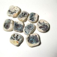 Handmade Ceramic Buttons Blue