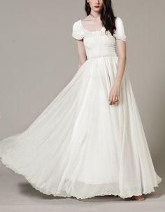 Custom Made Floor-Length Chiffon Wedding Dress, graduation ceremony Dresses, Wedding Gown, Bridal Dress