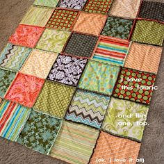 Funky squares rag quilt example