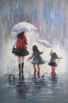 Mom and Two Daughters Original Painting rain girls mother daughters paintings wall art two sisters umbrellas, Vickie Wade art Mother And Daughter Drawing, Mother Art, Mother And Child, Two Daughters, Mom Daughter, Tattoo Kind, Tattoo For Baby Girl, Birthday Painting, Love Painting