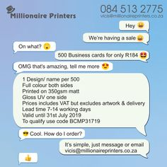 Business Card Special - Millionaire Printers  R184.00 for 500 cards  - 1 design/name per 500 cards  - Full colour both sides - 350gsm matt with a gloss UV one side  - Price includes vat, but excludes design & delivery  - Lead time 7 to 14 working days - Valid until 31st July 2019  - To qualify use code BCMP31719 For more info please call 084 513 2775, email vicis@millionaireprinters.co.za or send us a message. #businesscards #branding #business #printing #brandidentity #marketing #print…