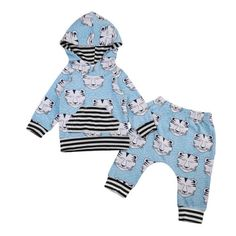 Floral Print Newborn Infant Baby Boy Girl Clothes Autumn Warm Hooded Tops Coat Pants Outfits Clothing Set Leopard Print #Affiliate