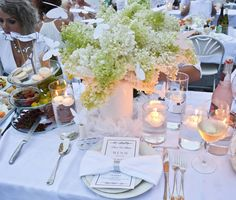 "Our table decor Diner en Blanc Halifax Nova Scotia, 2015. Decided to build my Charcuterie plate up instead of out to get more room at our table!! Fingers crossed we win the ""Art of the Table"" contest."
