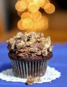 Chocolate Mousse Filled Snickers Cupcake