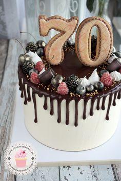 75 Birthday Cake, 75th Birthday, Chocolate Drip Cake, Just Cakes, Drip Cakes, Cake Art, Fondant, Cupcake Cakes, Icing