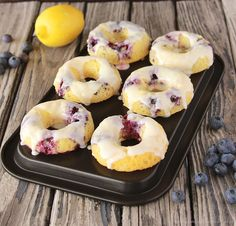 Baked Blueberry Lemon Donuts on www.cookingwithruthie.com are a healthier recipe packed with lemon and blueberry deliciousness!