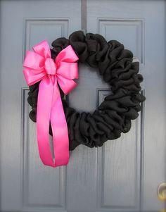 Black Burlap Wreath  Black Wreath  Pink Bow by WreathsByRebeccaB, $41.00